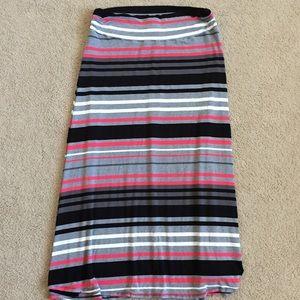 2XL Women's Striped Gray Neon Maxi Skirt spring
